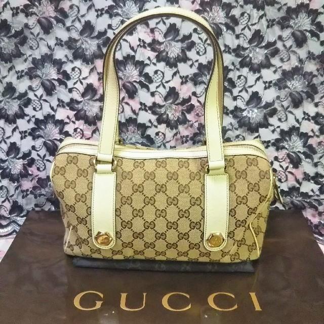 Gucci - 正規品 美品 グッチ ボストンバッグ ミニ GGキャンバス ハンドバッグの通販 by つばき|グッチならラクマ