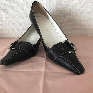 ギンザカネマツ(GINZA Kanematsu)の銀座カネマツ黒ローヒールパンプス(ハイヒール/パンプス)