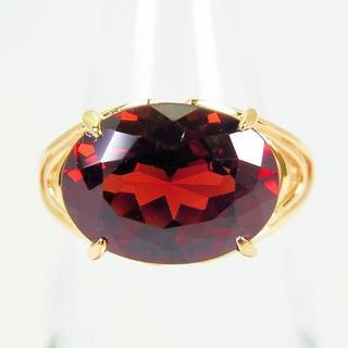 K18 天然ロードライトガーネット ダイヤモンド リング 9号(リング(指輪))