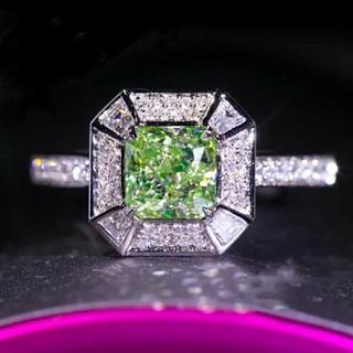 1.0ct★AAAAA モアサナイト グリーンダイヤモンド リング(リング(指輪))