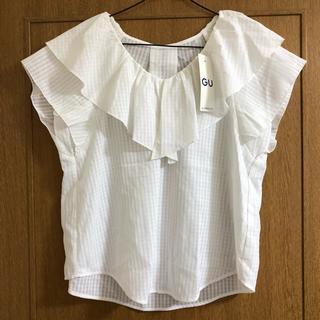 ジーユー(GU)の新品 GU シアーチェックフリルブラウス ホワイトM(シャツ/ブラウス(半袖/袖なし))