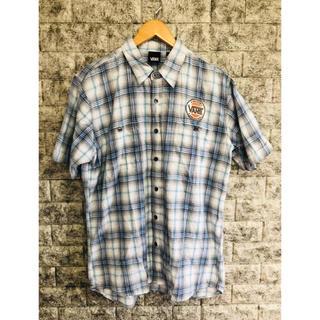 ヴァンズ(VANS)の希少 VANS 半袖 チェックシャツ 刺繍 ワッペン メンズ LLサイズ (シャツ)