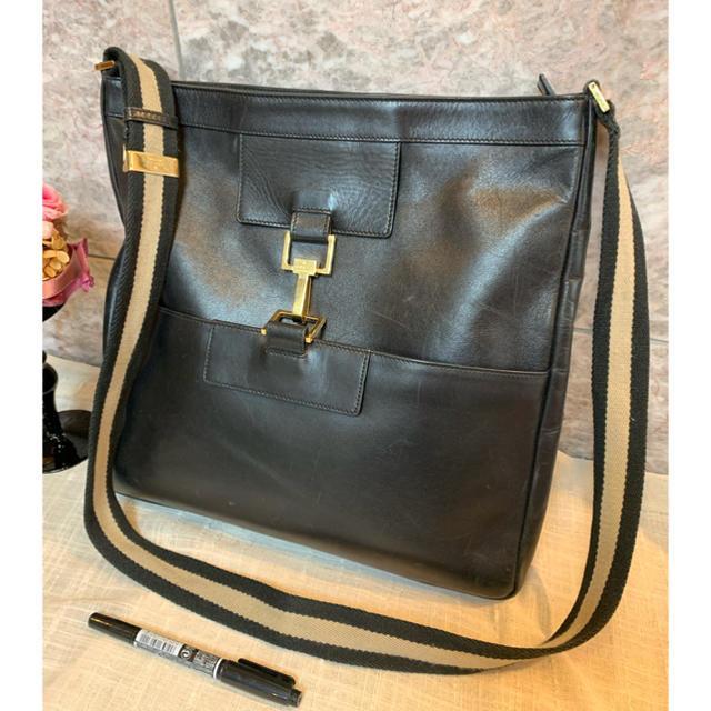 Gucci - グッチ 革ショルダーバッグ 黒の通販 by Ninnin999's shop|グッチならラクマ