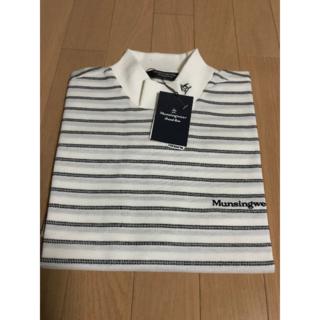 マンシングウェア(Munsingwear)のマンシング モック半袖ボーダーTシャツ 白/黒(Tシャツ/カットソー(半袖/袖なし))