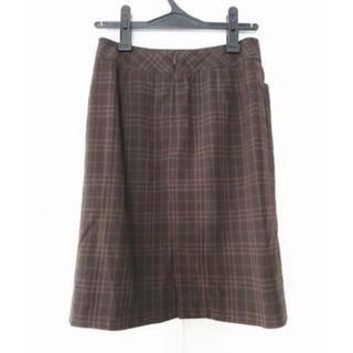 バーバリー(BURBERRY)のバーバリーロンドン スカート 38 L ダークブラウン × ブラウン チェック柄(ひざ丈スカート)