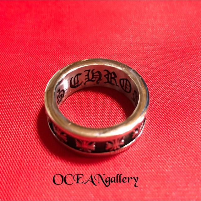 送料無料 20号 シルバーサージカルステンレスクロス十字架フープスペーサーリング メンズのアクセサリー(リング(指輪))の商品写真