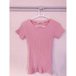スライ(SLY)のSLY CUTWIDERIB ピンク トップス(Tシャツ(半袖/袖なし))