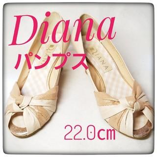 ダイアナ(DIANA)のダイアナ パンプス サンダル 22 ベージュライト ウェッジソール オープントゥ(ハイヒール/パンプス)