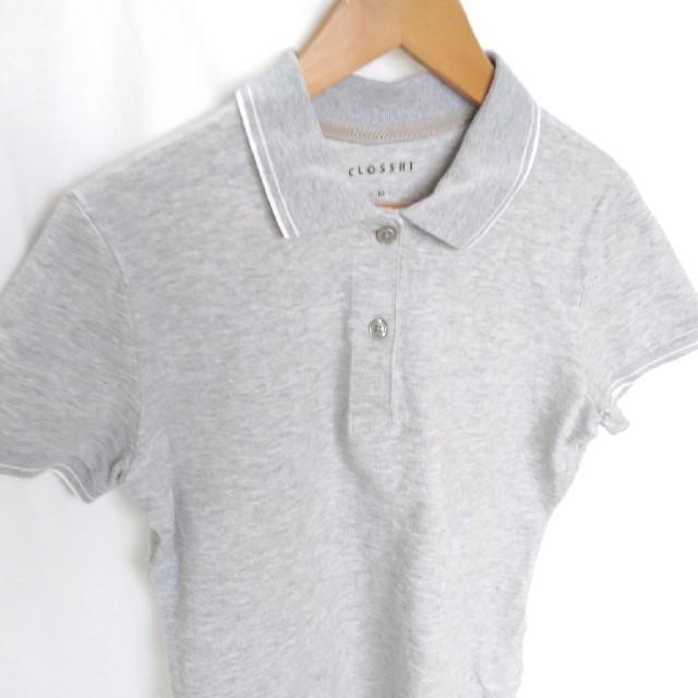 しまむら(シマムラ)のライトグレー ポロシャツ M レディースのトップス(ポロシャツ)の商品写真