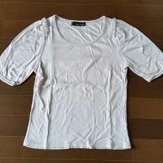 クリアインプレッション(CLEAR IMPRESSION)の肩フリル半袖カットソー グレー系(カットソー(半袖/袖なし))