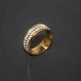 ジルコニア リング ステンレス 316L 21号 ダイヤ クリスタル ゴールド(リング(指輪))