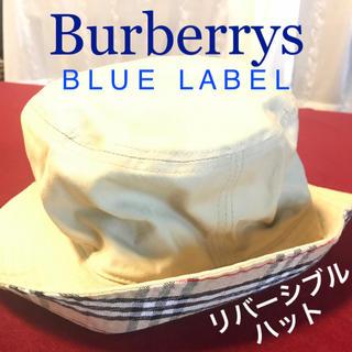 バーバリーブルーレーベル(BURBERRY BLUE LABEL)の【美品】バーバリーブルーレーベル 帽子 ハット サファリハット バケットハット(ハット)