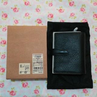 ムジルシリョウヒン(MUJI (無印良品))の無印 ヌメシュリンク革 二つ折財布 黒(財布)