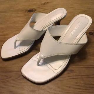ラルフローレン(Ralph Lauren)の白革サンダル ミュール(サンダル)