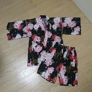 シマムラ(しまむら)の【美品】しまむら /  甚平 レディース Mサイズ 花 花柄 ブラック(浴衣)