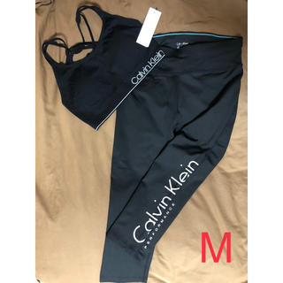 カルバンクライン(Calvin Klein)のカルバンクライン トレーニングウェア スポーツブラ&レギンス 上下セット 黒 M(ブラ)