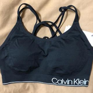 カルバンクライン(Calvin Klein)のカルバンクライン パット付きスポーツブラ 黒 M(ブラ)