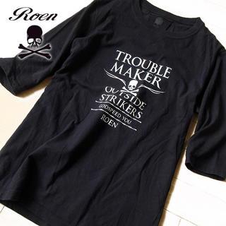 ロエン(Roen)の美品 46(M位) Roen ロエン メンズ 5分袖カットソー ブラック(Tシャツ/カットソー(半袖/袖なし))