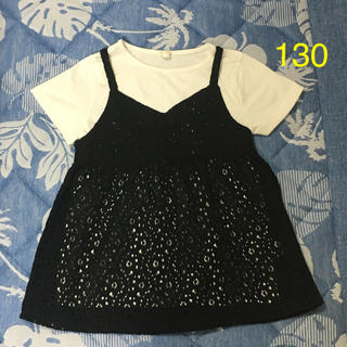 ジーユー(GU)のGU キャミソール付きTシャツ 130(Tシャツ/カットソー)
