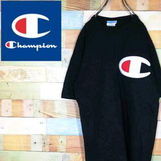 チャンピオン(Champion)のチャンピオン☆刺繍ビッグロゴ袖ワンポイント ブラックTシャツ(Tシャツ/カットソー(半袖/袖なし))