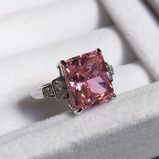 ピンクストーンCZダイヤリング(19号)★スクエア、巾着付き、即日発送! レディースのアクセサリー(リング(指輪))の商品写真
