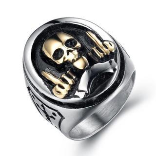 新品 スカル パンク リング 指輪 シルバー ゴールド メンズ アクセサリー(リング(指輪))