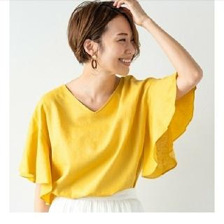 ジーユー(GU)の今季新品 GU リネンブレンドフレアブラウス(シャツ/ブラウス(半袖/袖なし))