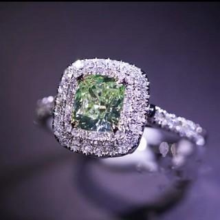 1.0ct★AAAAA モアサナイト グリーンダイヤモンド リング&ペンダント(リング(指輪))