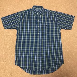 ラルフローレン(Ralph Lauren)の80〜90s ラルフローレン 半袖シャツ チェック ワンポイント インド綿 紺(シャツ)