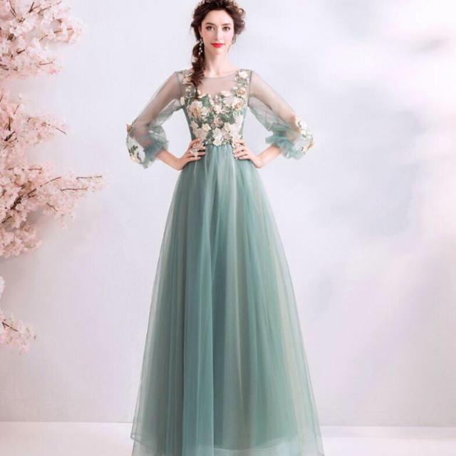 人気推薦 素敵なカラードレス 緑 編み上げ 結婚式 演奏会 発表会 の