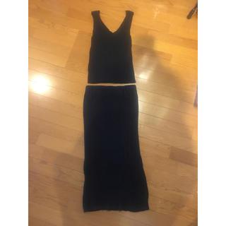 ローズバッド(ROSE BUD)のローズバッド ニット 夏物 セットアップ ブラック フリーサイズ スカート(セット/コーデ)