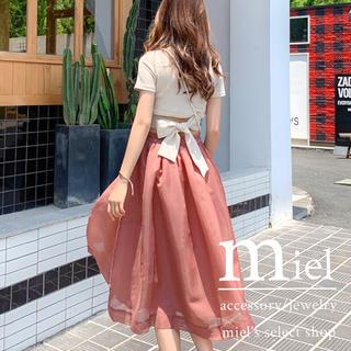 エイミーイストワール(eimy istoire)の《2colour》Back ribbon tops×tulle skirt(セット/コーデ)