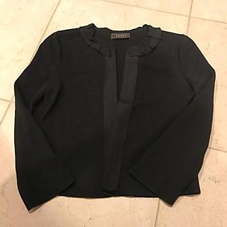 フォクシー(FOXEY)の美品 FOXEY グログランリボン  ニットジャケット 38(ノーカラージャケット)