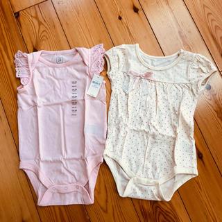 ベビーギャップ(babyGAP)の新品あり babyGAP 袖フリルロンパース&リボンロンパース 80cm(ロンパース)