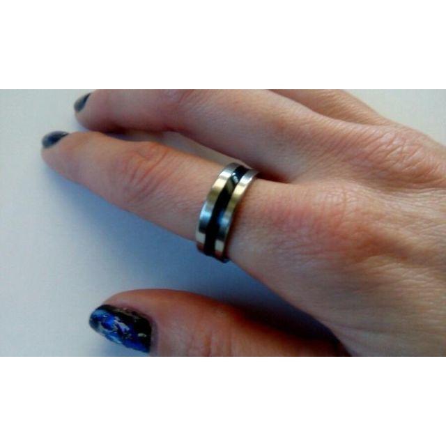 ブラックライン ステンレス リング メンズのアクセサリー(リング(指輪))の商品写真