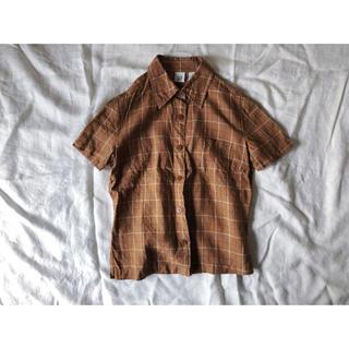 ギャップ(GAP)のGAP ブラウンのチェックリネンシャツ(シャツ/ブラウス(半袖/袖なし))