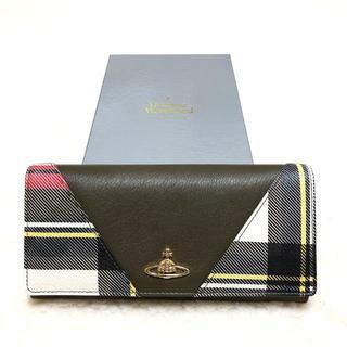 ヴィヴィアンウエストウッド(Vivienne Westwood)の新品☆Vivienne Westwood タータンチェック切替 長財布 白系(財布)