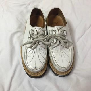 ジョージコックス(GEORGE COX)のジョージコックス シューズ ラバーソール 白 ホワイト イングランド製 21cm(ローファー/革靴)