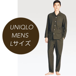 ユニクロ(UNIQLO)のA 新品未使用 ユニクロ 長袖 パジャマ メンズ ダークグリーン カーキ L(その他)