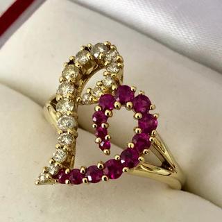 K18 ダイヤモンド/ルビー リング(リング(指輪))
