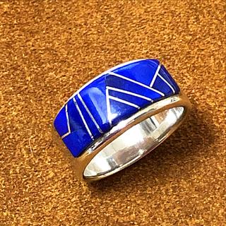 ロンハーマン(Ron Herman)のナバホ族 インディアンジュエリー ラピスラズリ インレイ シルバーリング (リング(指輪))