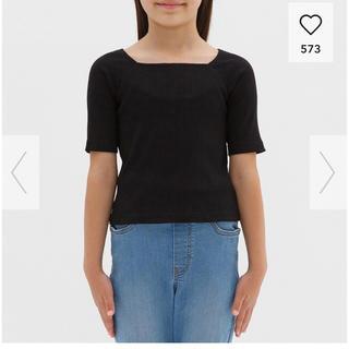 ジーユー(GU)のジーユー リブスクエアネックTシャツ(Tシャツ/カットソー)