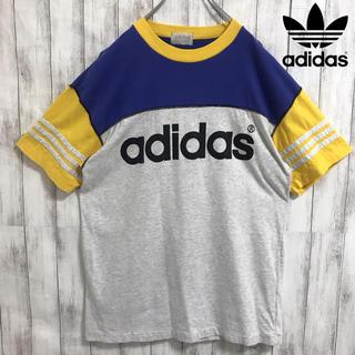 アディダス(adidas)の90s 古着 adidas アディダス デカロゴ  マルチカラー Tシャツ(Tシャツ/カットソー(半袖/袖なし))
