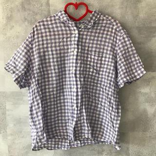 ジーユー(GU)のチェックシャツ 半袖シャツ ギンガムチェック(シャツ/ブラウス(半袖/袖なし))