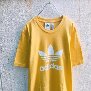 アディダス(adidas)のレアカラー! adidas トレフォイル デカロゴ  Tシャツ からし黄色 白(Tシャツ/カットソー(半袖/袖なし))