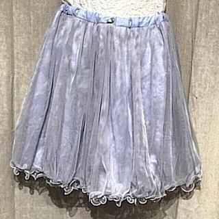 リズリサ(LIZ LISA)のリズリサ❤️刺繍付き二重チュールスカート(ひざ丈スカート)