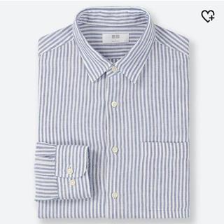 UNIQLO - プレミアフレンチリネンストライプワイシャツ長袖ブルー