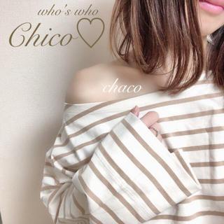 人気🍒新品♡【Chico】ボートネックBIGボーダーロンT  ワンショル