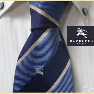 BURBERRY - 大人気★バーバリー本家★【ホースロゴ入り正統派ストライプ】ネクタイ