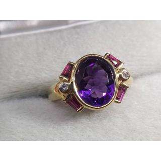 K18YG ダイヤモンド/アメジスト/ルビー デザインリング  指輪(リング(指輪))